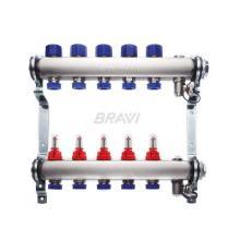 Коллектор для теплого пола с расходомерами BRAVI